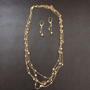 Jewelry - gold beaded necklace and earrings